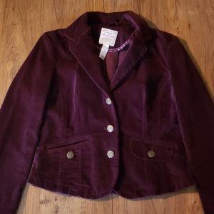 Aeropostale plum colored velvet blazer jacket